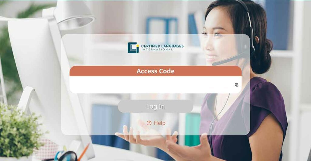 The login screen of CLI's new video remote interpreting (VRI) platform. It shows a smiling female VRI interpreter with a field for an access code to log in.