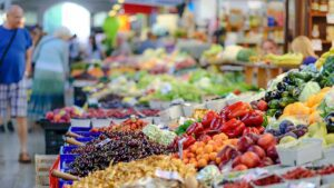 Fruits and vegetables on display to purchase at farmers market