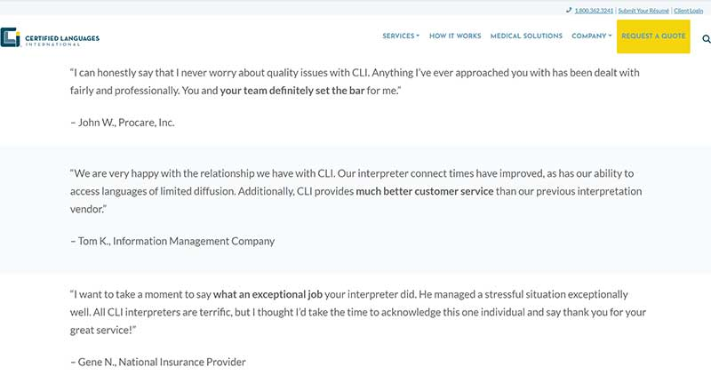 Part of Certified Languages International's testimonial page on their website